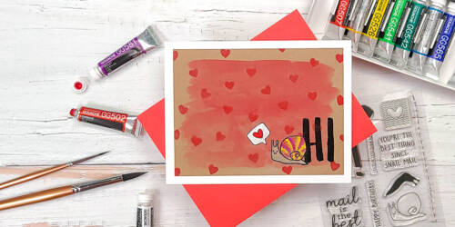 greeting card featuring Concord & 9th Snail Mail and gouache watercolors on kraft paper