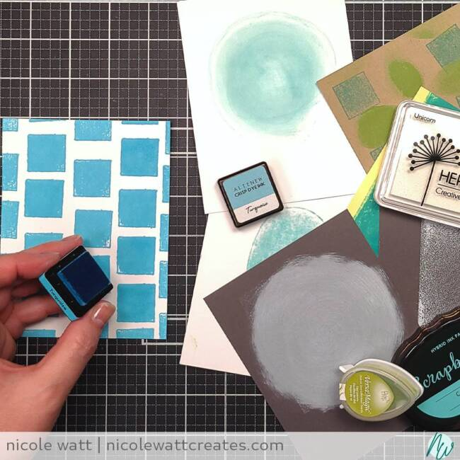image of cardstock embellished with the direct to paper technique